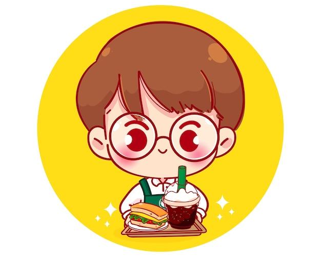 Милый мальчик-бариста в фартуке держит иллюстрацию персонажа из мультфильма сэндвич и кофе