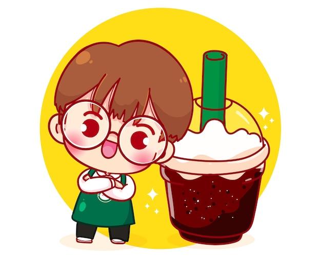 Милый мальчик бариста в фартуке с иллюстрацией мультипликационного персонажа кофе