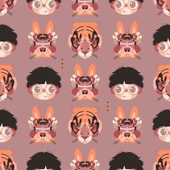 Cute boy, bunny and tiger faces in a seamless pattern