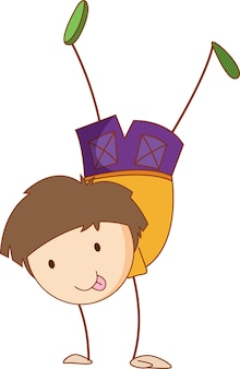 Carattere sveglio del fumetto del ragazzo isolato in stile doodle disegnato a mano