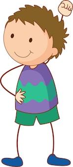 Personaggio dei cartoni animati del ragazzo sveglio in stile scarabocchio disegnato a mano isolato