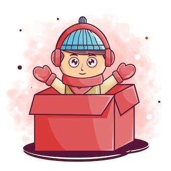Милый мальчик мультипликационный персонаж на коробке иллюстрации