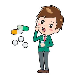 마약의 제스처와 함께 귀여운 소년 만화 캐릭터.