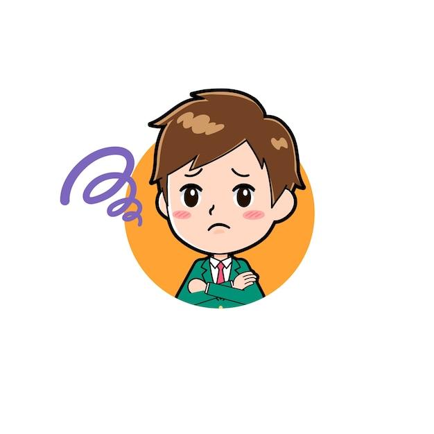 아이콘의 제스처와 함께 귀여운 소년 만화 캐릭터 걱정.