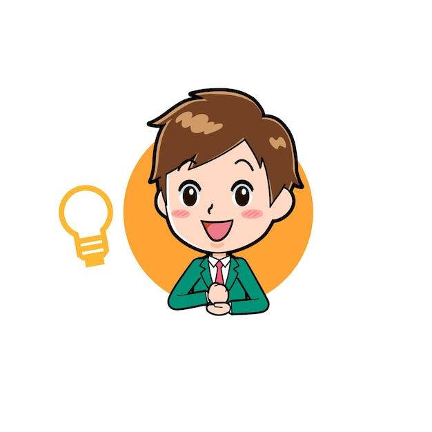 アイコンのインスピレーションのジェスチャーでかわいい男の子の漫画のキャラクター。