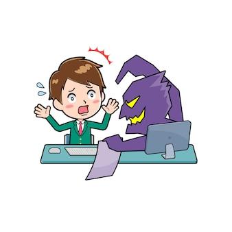 인터넷 사기의 제스처와 함께 귀여운 소년 만화 캐릭터.