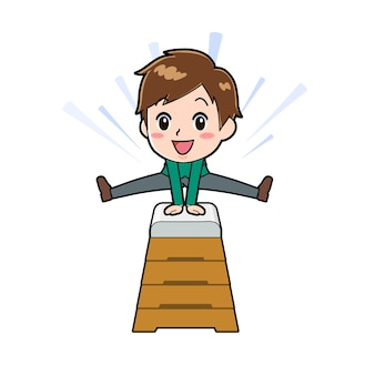 ジャンプボックスのジェスチャーでかわいい男の子の漫画のキャラクター。