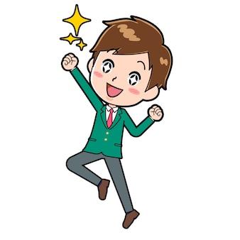 점프의 제스처와 함께 귀여운 소년 만화 캐릭터.