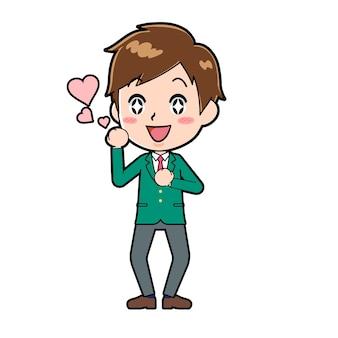 사랑의 제스처와 함께 귀여운 소년 만화 캐릭터.