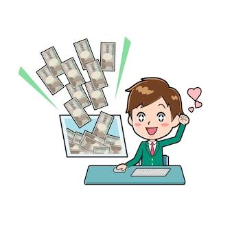 Pcでお金を稼ぐジェスチャーでかわいい男の子の漫画のキャラクター。