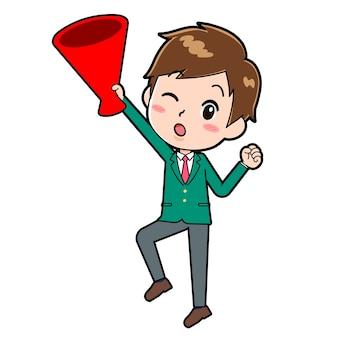 확성기 점프의 제스처와 함께 귀여운 소년 만화 캐릭터.