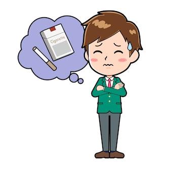 금연의 제스처와 함께 귀여운 소년 만화 캐릭터.