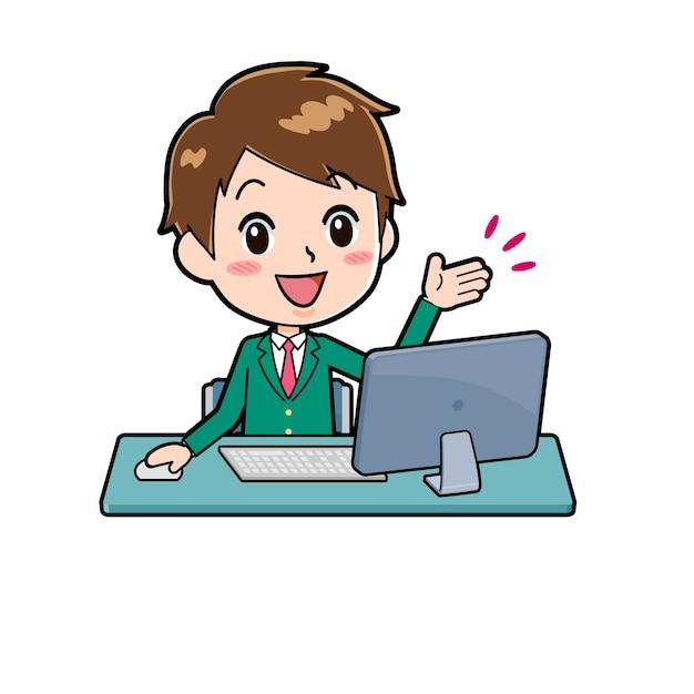 Pcの机のジェスチャーでかわいい男の子の漫画のキャラクター。