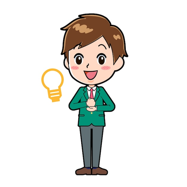Cute boy cartoon character with a gesture of inspiration.