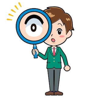 Cute boy cartoon character with a gesture of loupe.