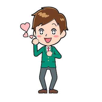 Cute boy cartoon character with a gesture of love.