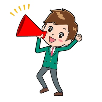 Cute boy cartoon character with a gesture of megaphone shout.