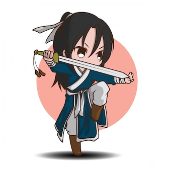 Cute boy cartoon in chinese battle master costume.