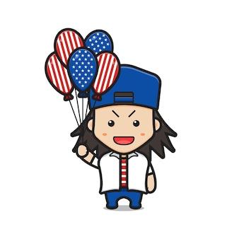 アメリカ合衆国の旗風船イラストを保持しているかわいい男の子の漫画