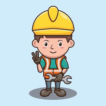 노동절 벡터 디자인에서 렌치를 들고 귀여운 소년 만화
