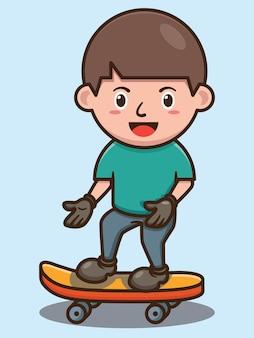 スケートボードのベクトルデザインを再生するかわいい男の子漫画