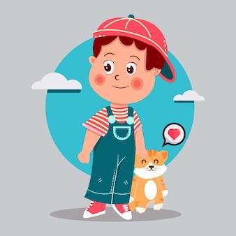 Милый мальчик-любитель кошек с иллюстрацией шаржа кота