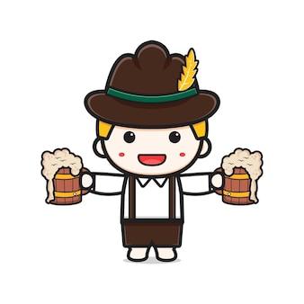 Cute boy celebrate oktoberfest cartoon icon illustration. design isolated flat cartoon style