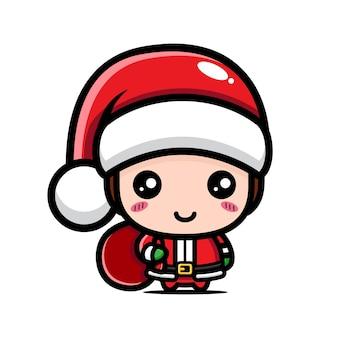 크리스마스를 축하하는 귀여운 소년