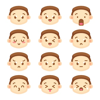 Cute boy character emoticon collection