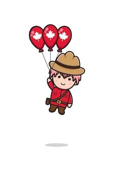 かわいい男の子のキャラクターが飛んでいる有名なカナダの日の漫画イラスト