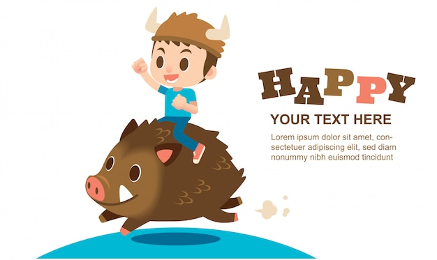 Cute boy character riding on a wild boar for greeting card