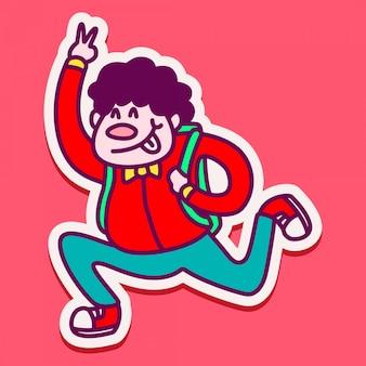 学校に戻るかわいい男の子キャラクターステッカー