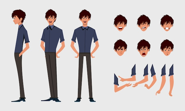 Cute boy character turn around with various facial emotions and hand poses.