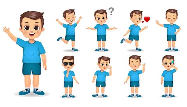 Милый мальчик персонаж с набором различных жестов