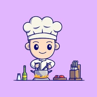 부엌 만화에서 요리하는 귀여운 소년 요리사