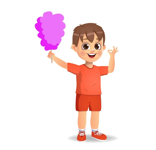 Cute boy child eat cotton candy. isolated