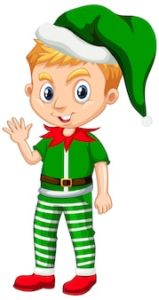 Cute boy in christmas costume cartoon character