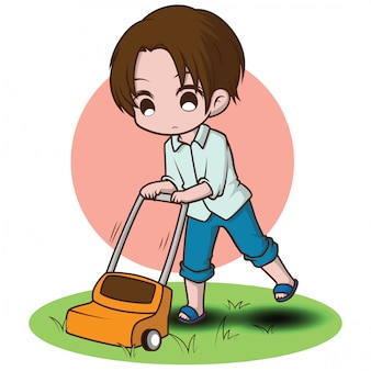 Cute boy clean house., activity in day off.