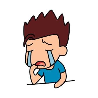 かわいい男の子が泣いている漫画イラスト