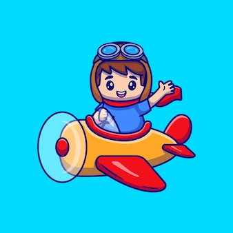 Cute boy driving plane cartoon