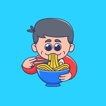 Cute boy eating ramen noodle