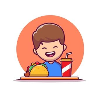 Милый мальчик ест тако и пить соду мультфильм значок иллюстрации. концепция значок пищи люди изолированы. плоский мультяшном стиле