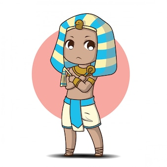 Cute boy in egyptian costume., cartoon character.