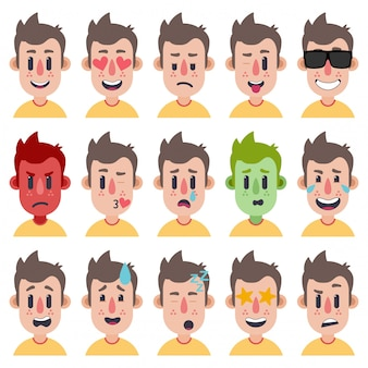 Cute boy emotions faces pack