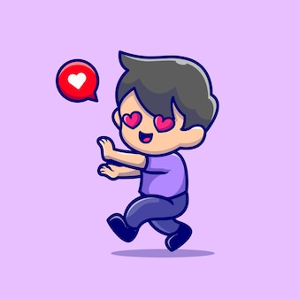 Милый мальчик влюбляется мультфильм значок иллюстрации.