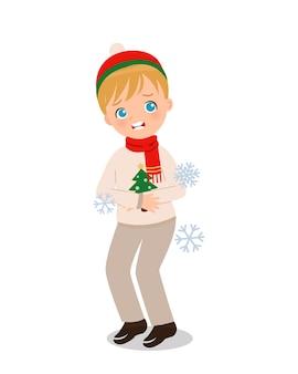 冬の寒さを感じるかわいい男の子。子供たちのクリップアート。