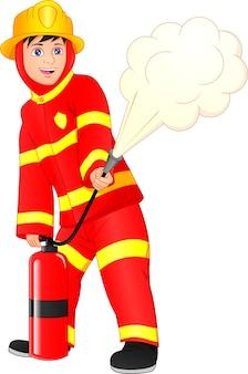 Милый мальчик пожарный на белом фоне