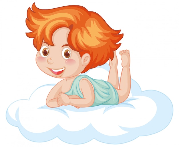 Cute boy on the floating cloud smiling