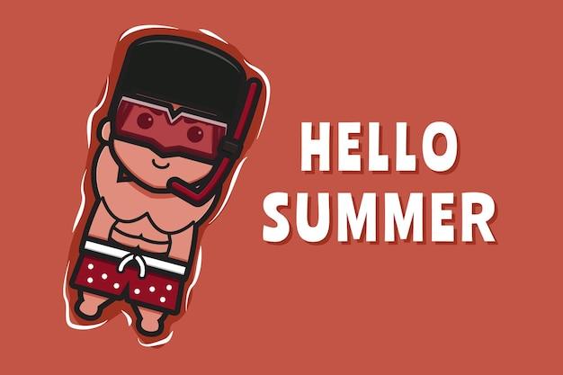 Милый мальчик плавающий расслабляется с летним приветствием баннер мультфильм значок иллюстрации