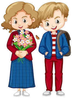 Cute boy and girl in blue and red clothes